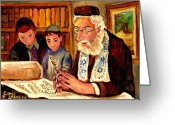 Herzaliah High School Montreal Greeting Cards - The Torah Scribe Greeting Card by Carole Spandau