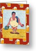 Caribbean Art Pastels Greeting Cards - The Tourist - Man Greeting Card by William Depaula