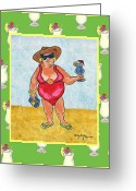Caribbean Art Pastels Greeting Cards - The Tourist - Woman Greeting Card by William Depaula