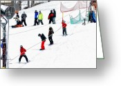 Snow Boarding Greeting Cards - The Tow Rope At The Bunny Hill Greeting Card by Anne Kitzman