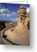 Two Men Greeting Cards - The Tower Of The Ad-deir Monastery Greeting Card by Richard Nowitz