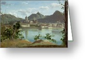 Lake Como Greeting Cards - The Town and Lake Como Greeting Card by Jean Baptiste Camille Corot