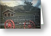 Log Cabins Mixed Media Greeting Cards - The Trading Post - Tennessee Greeting Card by Deborah