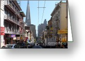 Big Cities Greeting Cards - The Transamerica Pyramid Through Chinatown San Francisco Greeting Card by Wingsdomain Art and Photography