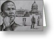 Barack Drawings Greeting Cards - The Transition Greeting Card by Arnold Hurley