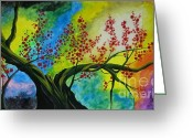 Quadro Glass Art Greeting Cards - The tree Greeting Card by Betta Artusi