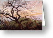Romanticist Greeting Cards - The Tree of Crows Greeting Card by Caspar David Friedrich