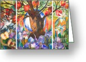 Woods Painting Greeting Cards - The Tree of Life Greeting Card by Kate Bedell