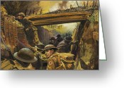 Helmet Greeting Cards - The Trenches Greeting Card by Andrew Howat