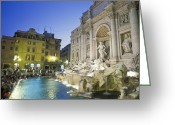 Tourists And Tourism Greeting Cards - The Trevi Fountain And Palazzo Poli Greeting Card by Richard Nowitz