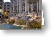 Tourists And Tourism Greeting Cards - The Trevi Fountain At Dusk Greeting Card by Scott S. Warren