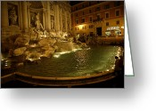 Tourists And Tourism Greeting Cards - The Trevi Fountain At Night Greeting Card by Stephen Alvarez