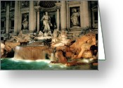 Sculpture Greeting Cards - The Trevi Fountain Greeting Card by Traveler Scout