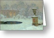 Jardins Greeting Cards - The Trianon Under Snow Greeting Card by Henri Eugene Augustin Le Sidaner