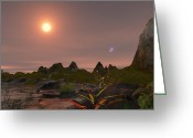 Red Dwarfs Greeting Cards - The Triple Star System 40 Eridani Greeting Card by Andrew Taylor