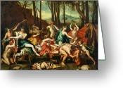 Poussin Greeting Cards - The Triumph of Pan Greeting Card by Nicolas Poussin