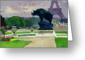 Jardins Greeting Cards - The Trocadero Gardens and the Rhinoceros Greeting Card by Jules Ernest Renoux