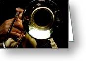 Players Greeting Cards - The Trombone   Greeting Card by Steven  Digman