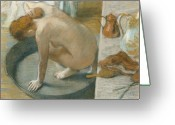 Nude Bath Greeting Cards - The Tub Greeting Card by Edgar Degas