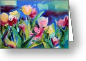 Flowerbed Greeting Cards - The Tulips Bed Rock Greeting Card by Kathy Braud