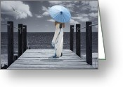 Young Lady Greeting Cards - The Turquoise Parasol Greeting Card by Christopher Elwell and Amanda Haselock