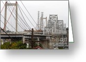 Highways Greeting Cards - The Two Carquinez Bridges At Crockett and Vallejo California . aka Alfred Zampa Memorial Bridge . 7D8919 Greeting Card by Wingsdomain Art and Photography