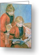 Red Pastels Greeting Cards - The Two Sisters Greeting Card by Pierre Auguste Renoir