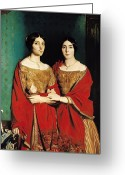 Twins Greeting Cards - The Two Sisters Greeting Card by Theodore Chasseriau
