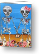Frida Kahlo Greeting Cards - The Two Skeletons Greeting Card by Jaz Higgins