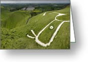Luminescence Greeting Cards - The Uffington Bronze Age White Horse Greeting Card by Paul D Stewart