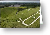 Luminescence Greeting Cards - The Uffington Bronze Age White Horse Wide Greeting Card by Paul D Stewart