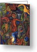Abstract   Framed Prints Greeting Cards - The Ultimate Conflict Greeting Card by Karen Musick