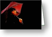 Umbrella Digital Art Greeting Cards - The Umbrella Girl Greeting Card by Stefan Kuhn