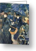 Pierre Auguste (1841-1919) Greeting Cards - The Umbrellas Greeting Card by Pierre Auguste Renoir
