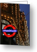 United Kingdom Greeting Cards - The Underground and Harrods at Night Greeting Card by Heidi Hermes