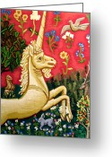 Acrylic Tapestries - Textiles Greeting Cards - The Unicorn Greeting Card by Genevieve Esson