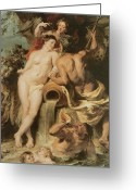 Rubens Painting Greeting Cards - The Union of Earth and Water Greeting Card by Sir Peter Paul Rubens