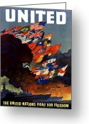 Flags Greeting Cards - The United Nations Fight For Freedom Greeting Card by War Is Hell Store