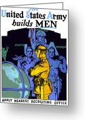 World War One Greeting Cards - The United States Army Builds Men Greeting Card by War Is Hell Store