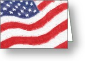Digital Glass Art Greeting Cards - The United States Flag Greeting Card by Heidi Smith