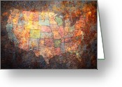 United States Map Greeting Cards - The United States Greeting Card by Michael Tompsett