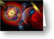Bizarre Digital Art Greeting Cards - The Universe In A Perpetual State Greeting Card by Mark Stevenson