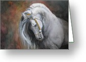 Andalusian Horse Greeting Cards - The Unreigned King Greeting Card by Nonie Wideman