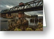 Old Bridge Greeting Cards - The Unswing Bridge Greeting Card by Jakub Sisak