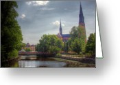 Tree-lined Greeting Cards - The Uppsala Cathedral Greeting Card by Mark Richards