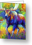 Autumn Painting Greeting Cards - The Urge To Merge - Bull Moose Greeting Card by Marion Rose