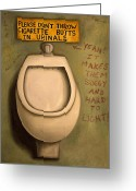 Urinal Greeting Cards - The Urinal Greeting Card by Leah Saulnier The Painting Maniac