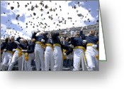 Cheering Greeting Cards - The U.s. Air Force Thunderbirds Fly Greeting Card by Stocktrek Images
