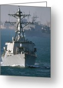 Frigate Greeting Cards - The U.s. Guided Missile Destroyer Uss Greeting Card by Stocktrek Images