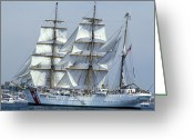 Law Enforcement Greeting Cards - The Uscgc Eagle, A 295-foot Barque Used Greeting Card by Michael Wood